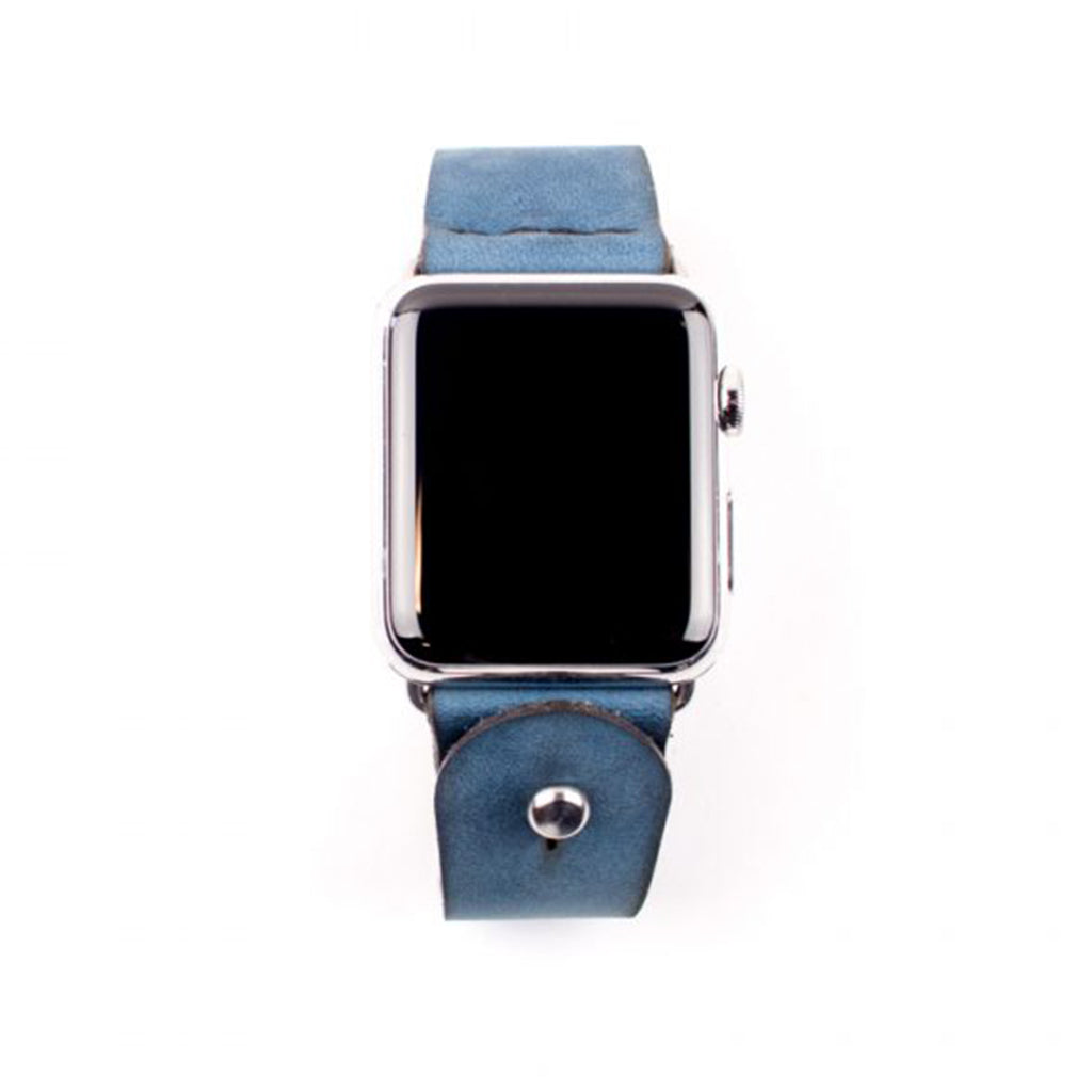 Form Function Form Latigo Peacock Blue Suede Button-Stud Apple Watch Band 38 mm