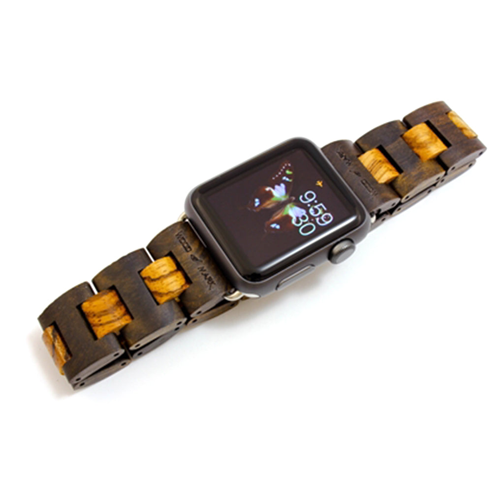 Wood Mark Teton Apple Watch Band in Black Sandalwood and Zebrawood - Cult of Mac Watch Store