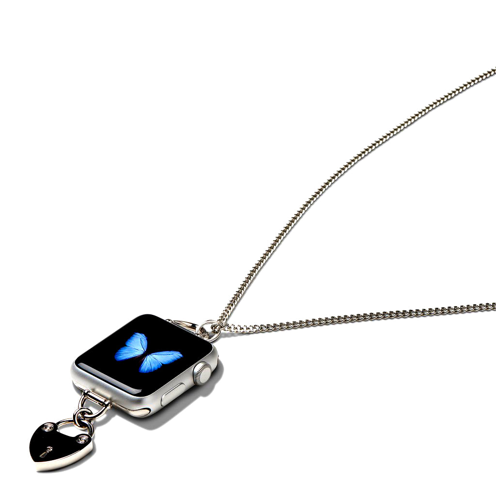 Bucardo Charm Apple Watch Necklace in Heartlock Silver Series 1, 2, 3