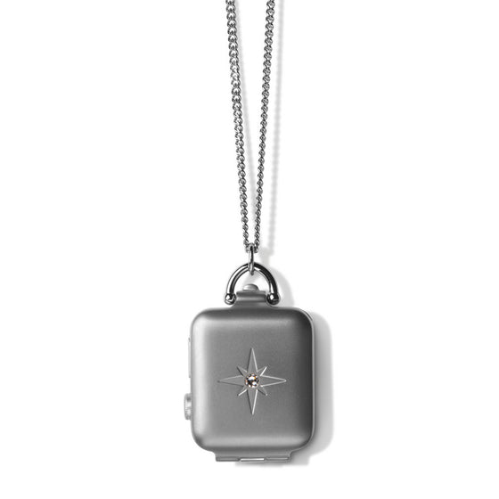 Bucardo Silver Starburst Locket with White Crystal - Cult of Mac Watch Store
