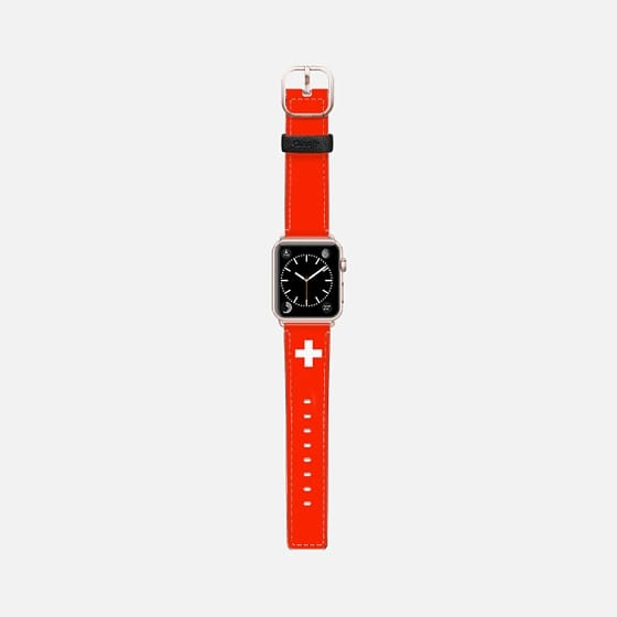 World Cup: Casetify Saffiano Leather Apple Watch Band Switzerland Flag