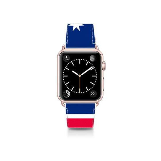 World Cup: Casetify Saffiano Leather Apple Watch Band White Star - Cult of Mac Watch Store