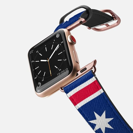 World Cup: Casetify Saffiano Leather Apple Watch Band White Star