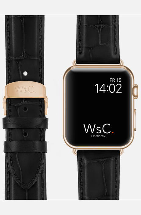 WsC Black Prowler Leather Apple Watch Band