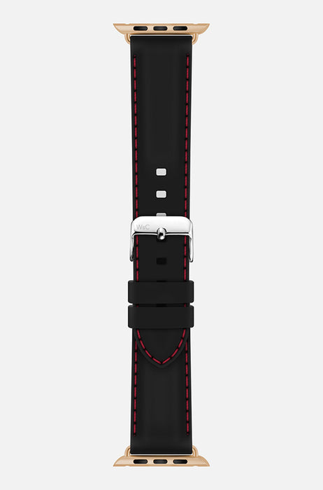WsC Nautilus Black Silicone Apple Watch Band With Red Stitching