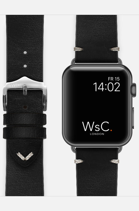 WsC Vengeance Black Leather Apple Watch Band