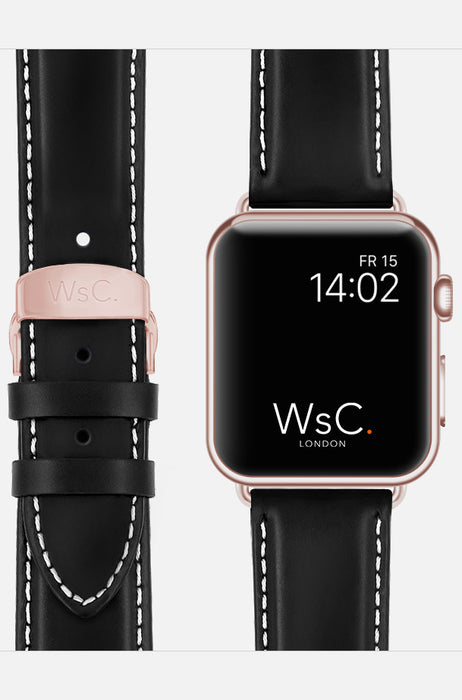WsC Defiant Black Leather Apple Watch Band With White Stitching