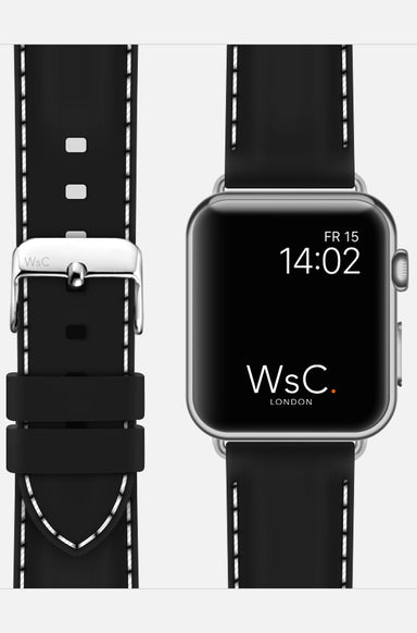 WsC Nautilus Black Silicone Apple Watch Band With White Stitching