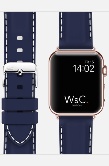 WsC Nautilus Blue Silicone Apple Watch Band
