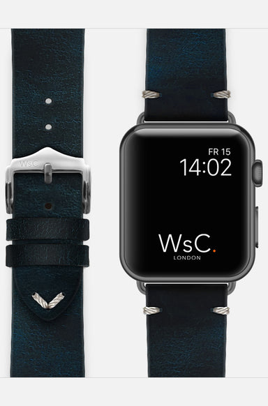 WsC Vengeance Blue Leather Apple Watch Band