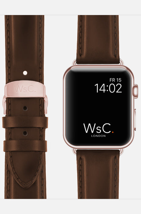 WsC Defiant Dark Brown Leather Apple Watch Band