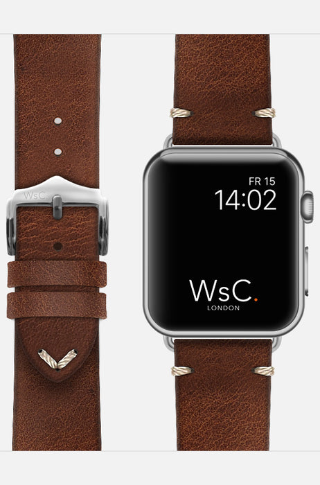 WsC Vengeance Light Brown Leather Apple Watch Band