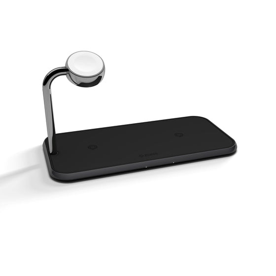 ZENS Dual+Watch Aluminium Wireless Charger - Black