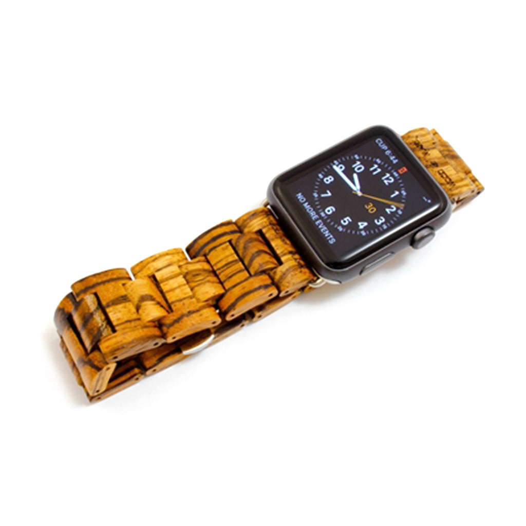 Wood Mark Teton Apple Watch Band in Gold Zebrawood - Cult of Mac Watch Store