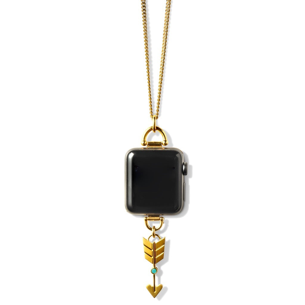 Bucardo Arrow Charm Apple Watch Necklace in Gold Series 1, 2, 3