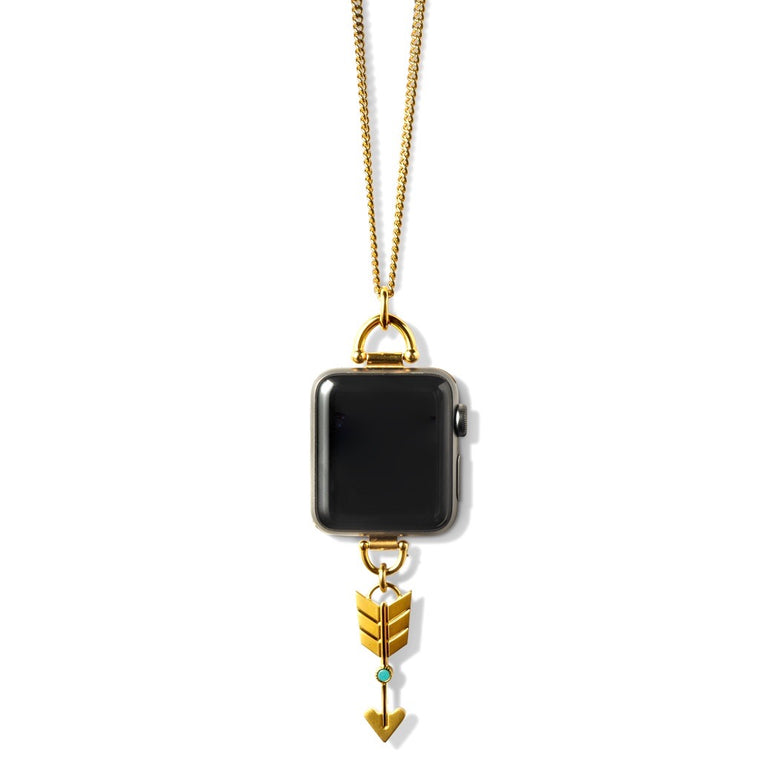 Bucardo Charm Apple Watch Necklace in Arrow Gold Series 1, 2, 3