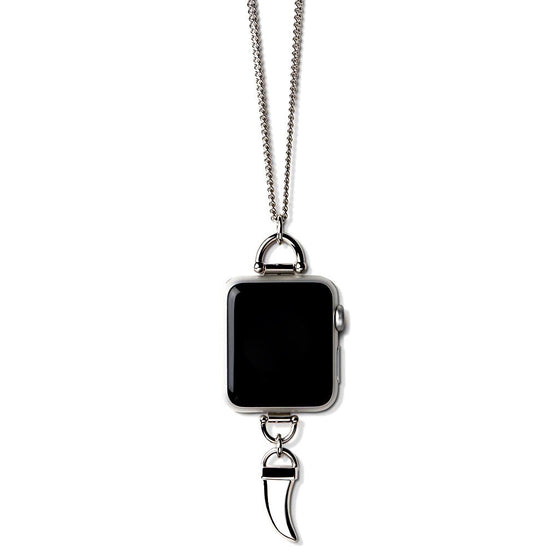 Bucardo Charm Apple Watch Necklace in Horn Silver Series 1, 2, 3