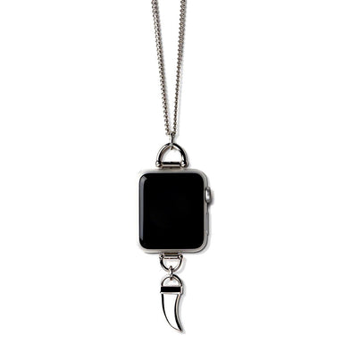 Bucardo Charm Apple Watch Necklace in Horn Silver