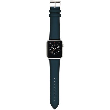 Ullu Hand-Colored Leather Apple Watch Band in Deep Sea - Cult of Mac Watch Store