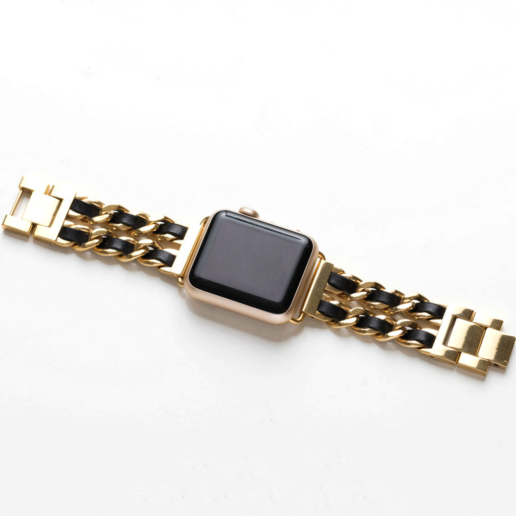 Bezels & Bytes Gold Chainlink & Black Leather Apple Watch Band