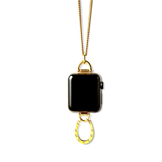 Bucardo Charm Apple Watch Necklace in Horseshoe Gold Series 1, 2, 3