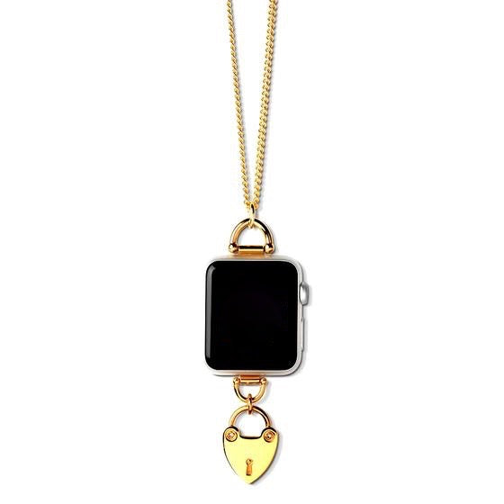 Bucardo Charm Apple Watch Necklace in Heartlock Gold Series 1, 2, 3