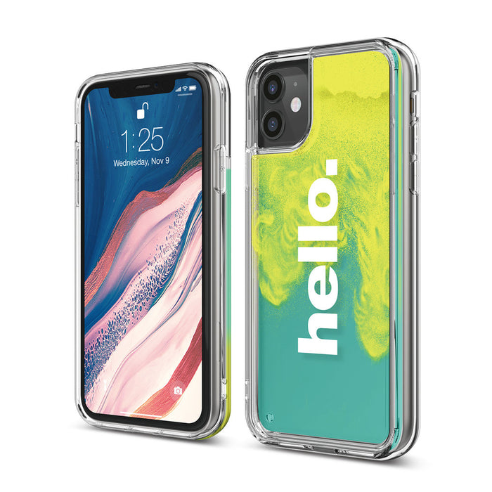 Elago iPhone 11/11 Pro/11 Pro Max Sand Case Hello: Neon Yellow (Night Glow Green) / Coral Blue