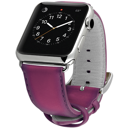 Ullu Hand-Colored Leather Apple Watch Band in Indian Pink  - Cult of Mac Watch Store