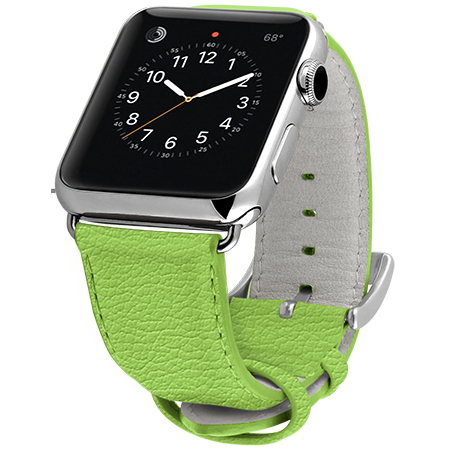 Ullu Premium Leather Apple Watch Band in Lime - Cult of Mac Watch Store