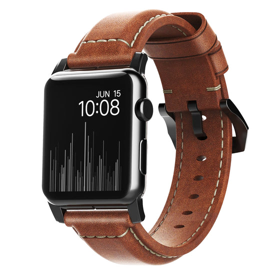 Nomad Traditional Leather Apple Watch Band in Rustic Brown - Cult of Mac Watch Store