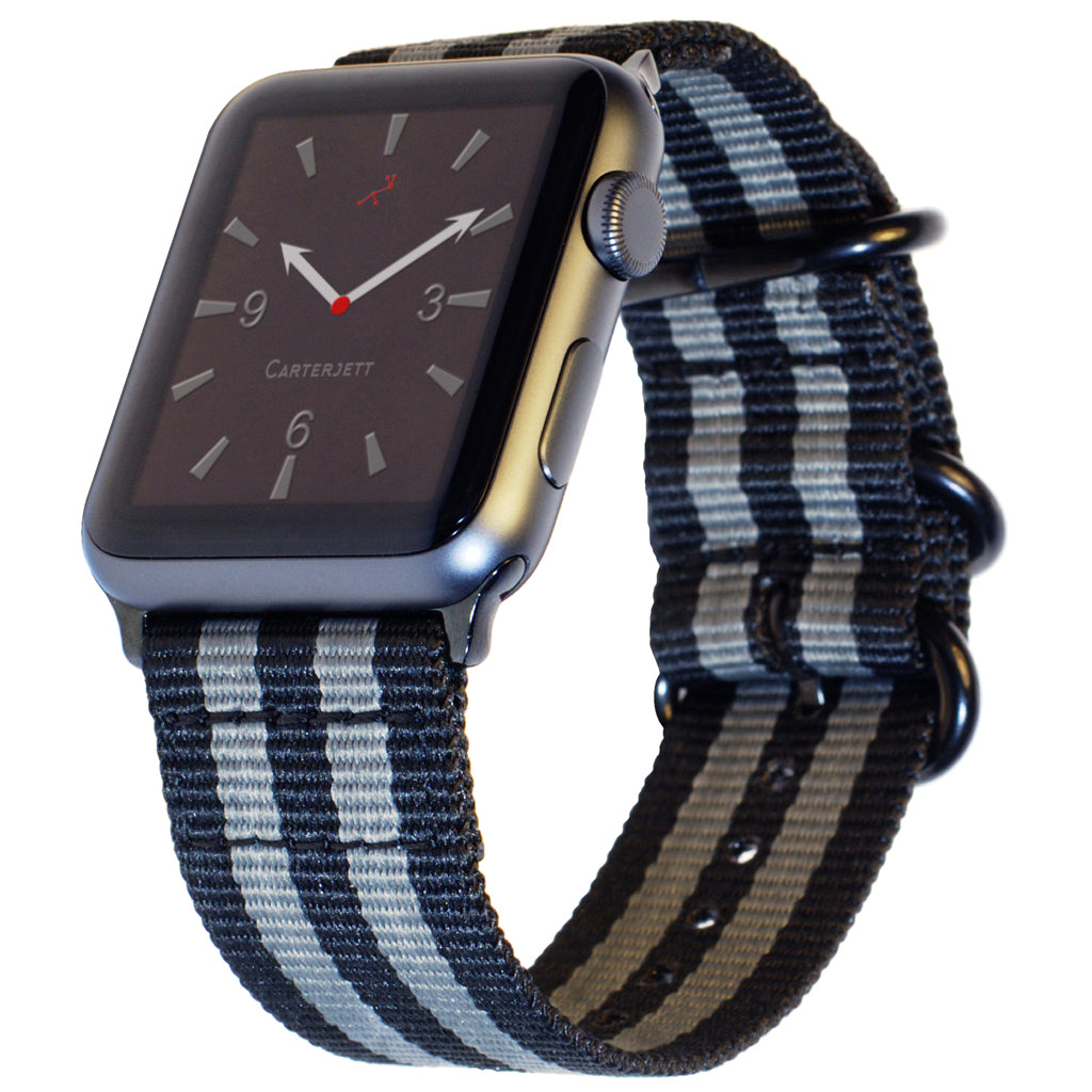 Carterjett Nylon NATO Apple Watch Band in Gray and Black - Cult of Mac Watch Store