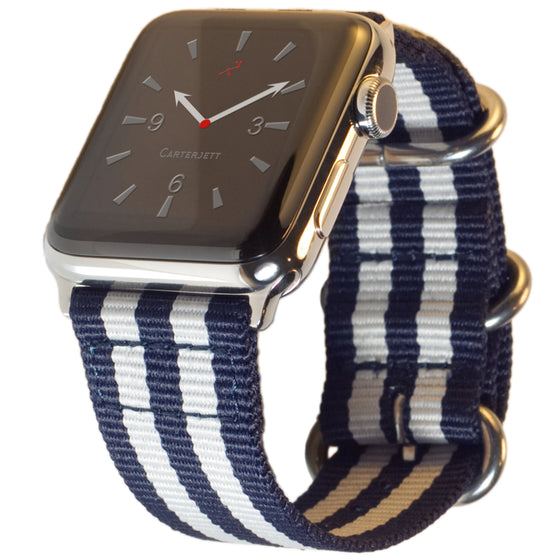 Carterjett Nylon NATO Apple Watch Band in Blue and White
