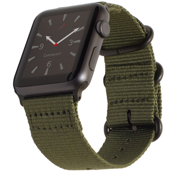 Carterjett Nylon NATO Apple Watch Band in Olive - Cult of Mac Watch Store