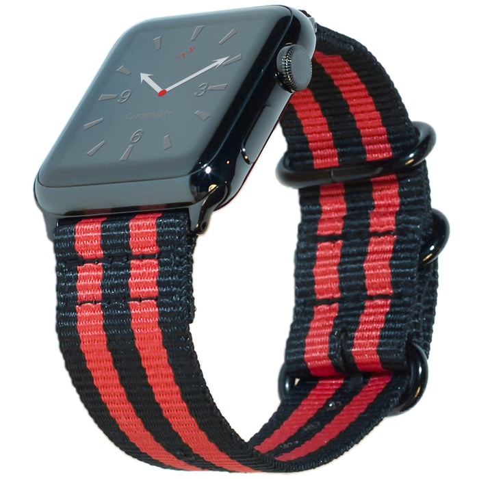 Carterjett Nylon NATO Apple Watch Band in Red and Black - Cult of Mac Watch Store