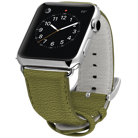 Ullu Premium Leather Apple Watch Band in Olive - Cult of Mac Watch Store
