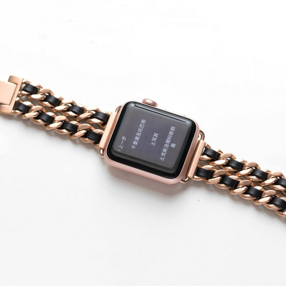 Bezels & Bytes Chainlink & Leather Apple Watch Band