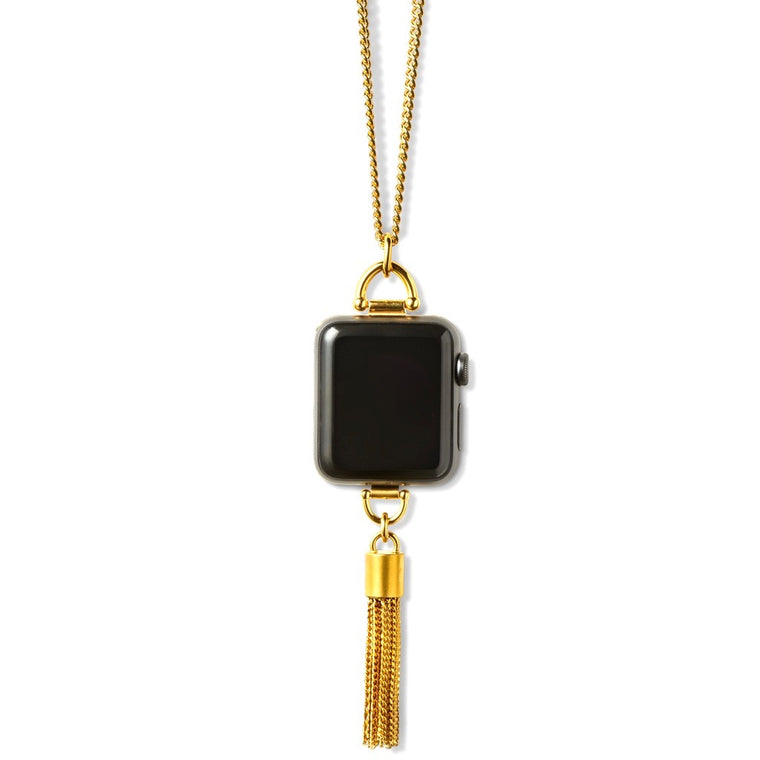 Bucardo Charm Apple Watch Necklace in Tassel Gold Series 1, 2, 3