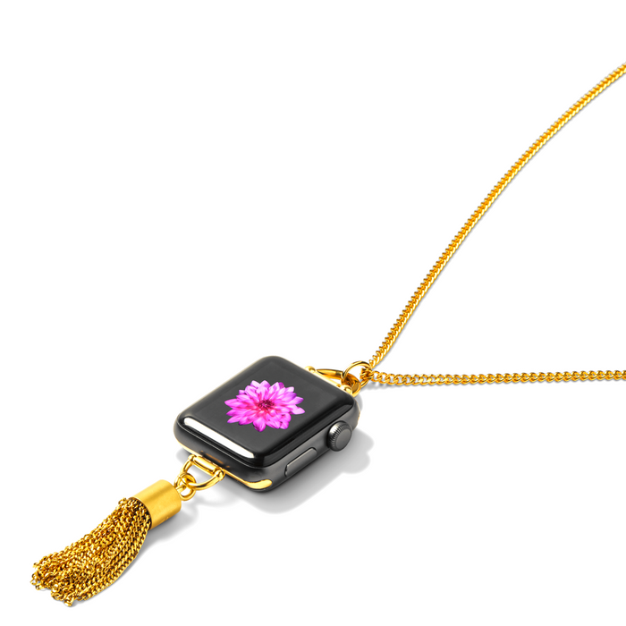 Bucardo Charm Apple Watch Necklace in Tassel Gold
