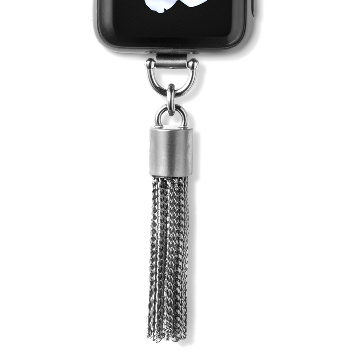 Bucardo Charm Apple Watch Necklace in Tassel Silver