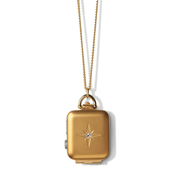 Bucardo Gold Starburst Locket with White Crystal - Cult of Mac Watch Store