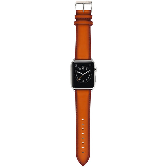 Ullu Hand-Colored Leather Band in Tangerine - Cult of Mac Watch Store