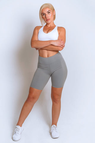 High Waisted Biker Shorts – Grey - MELTED FITNESS