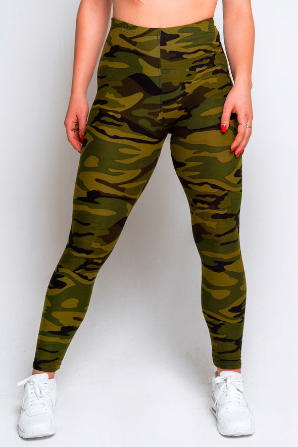 High Waisted Leggings + Sports Bra Set – Camo Green - MELTED FITNESS