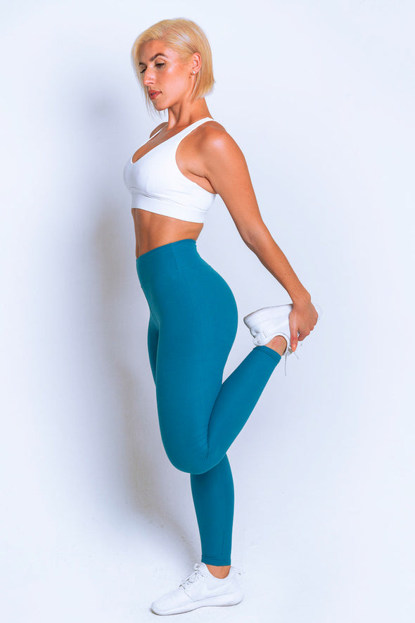 High Waisted Leggings – Teal - MELTED FITNESS