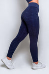 Snake Skin Seamless Leggings - Navy