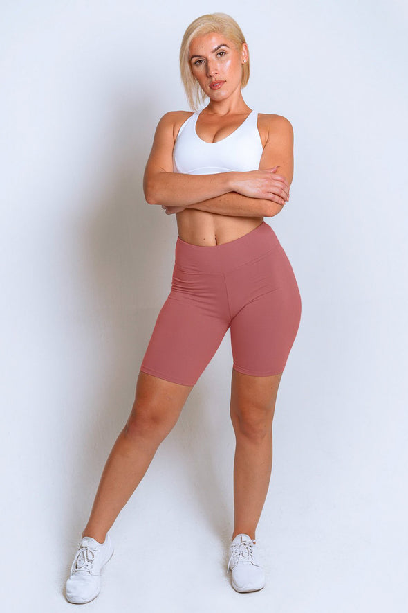 High Waisted Biker Shorts – Dusty Rose
