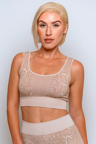Snake Skin Seamless Crop - Latte
