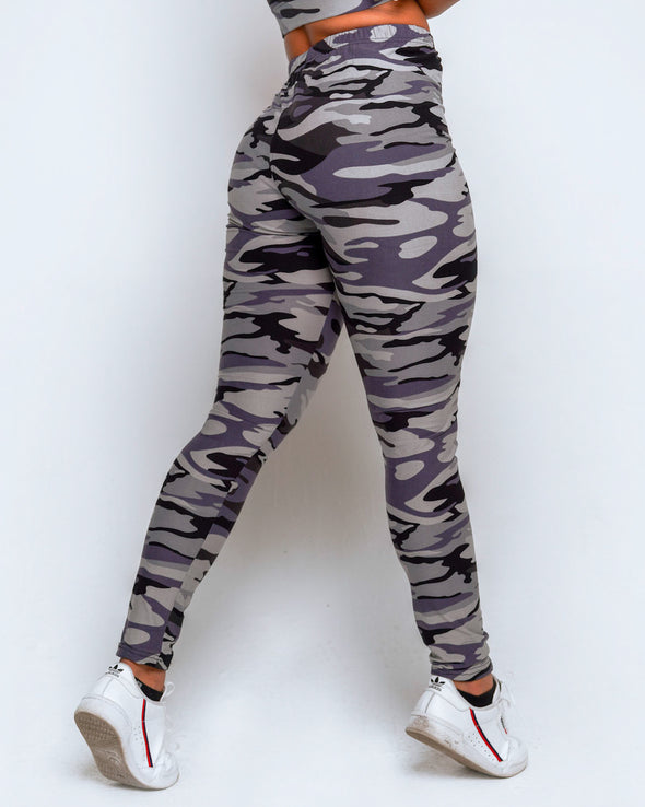 High Waisted Leggings + Sports Bra Set – Camo Grey - MELTED FITNESS