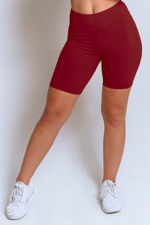 High Waisted Biker Shorts – Burgundy