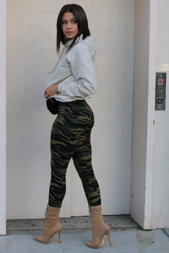 Camo High Waisted Legging – Green - MELTED FITNESS